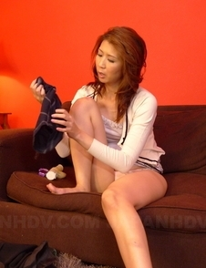 Asian Yoshioka Nanako uses toys to gets more