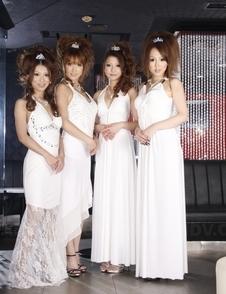 Saki, Yuki, Shiho, Karin in white dresses