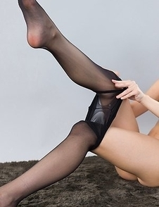 Rio Kamimoto puts on her pantyhose before this dude decides to fuck her legs