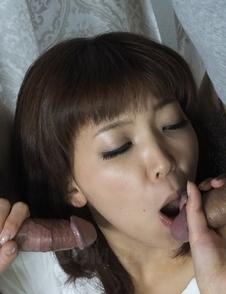 Whore Juri Kitahara sucks and strokes cock