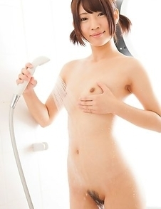 Petite Nozomi-chan stepped into the bathroom wearing a dazzling, light-blue bikini