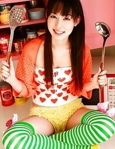 Rina Akiyama Asian in long colorful socks enjoys some sweets