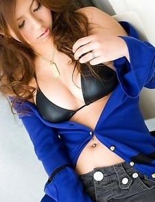 Sasha Asian doll takes blue sweater off and shows big melons