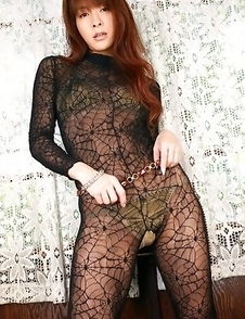 Rika Kawamura shows cunt in spider lace crotchless outfit