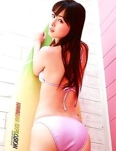 Rina Akiyama with sexy legs looks hot in mauve bath suit