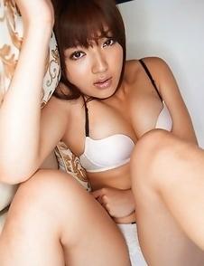 Shiori Kamisaki in short skirt shows huge assets in bra