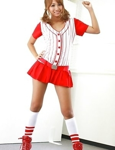 Rio Sakura cheerleader in red and white is so damn sexy