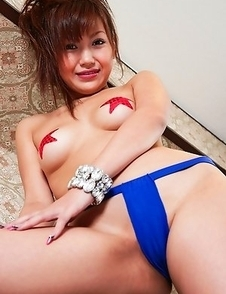 Nana Konishi takes big cans out of bra and puts stars on