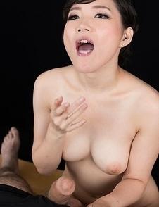Akari Misaki Gives A Sloppy Seconds Handjob