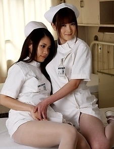 Hot nurses showing off their tits