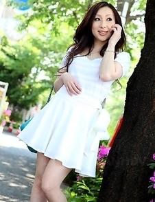 Hottie Asuka Souma posing outdoors