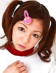 Young gal Hikaru Aoyama shows off