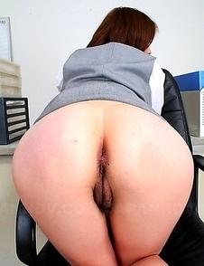 Japanese slut showing her hairy pussy