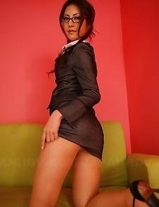 Julia Nanase bends over and teases