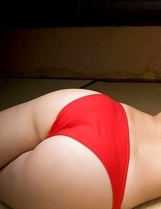 Rui Kiriyama shows very hot bum and very big tits in red