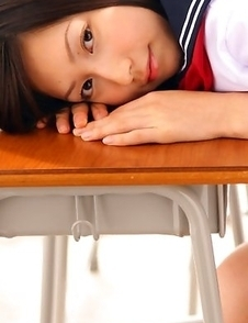 Kaori Ishii is naughty and shows legs under uniform skirt