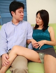 Horny Asian MILF teasing herself