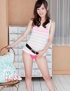 Kana Yuuki shows pussy and juicy behind in pink thong