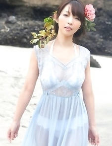 Neo babe in see through dress is like goddess from ocean