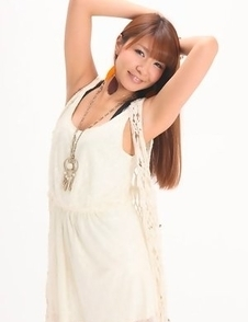 Minami Hazuki in white dress and with sexy smile is amazing
