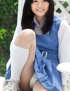 Ai Eikura is shy but shows nasty ass under uniform outdoor