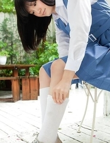 Ai Eikura is shy but shows nasty ass under uniform outdoor