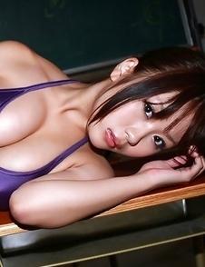 Mai Nishida takes school uniform off and shows big tits