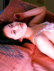 Saucey little asian  Mayuko Iwasa vixen laying around in cotton lingerie