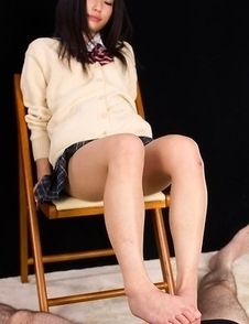 Upskirt/footjob HQ gallery starring the hottest Japanese schoolgirl, Luna Kobayashi