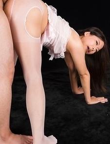 Miyuki Fukatsu wearing a revealing white pantyhose outfit and giving an assjob