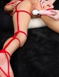 Luna Kobayashi thoroughly enjoying rope bondage teasing and vibrator play