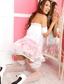 Reika Miki is such cute kitten in white fluffy lingerie