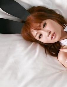 Aki Nishijima is sexy bunny with ears and fishnet stockings