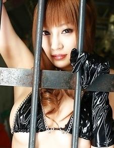 Kirara Asuka in kinky outfit puts vibrator on her big boobs