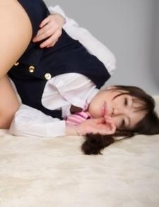 Horny schoolgirl Yuma Miyazaki shows off her feet before using a vibrator on cam