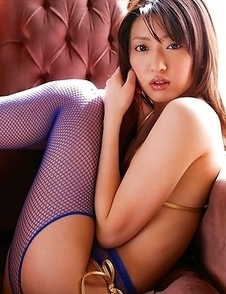 Misa Shinozaki shows cunt in yellow thong and crotchless