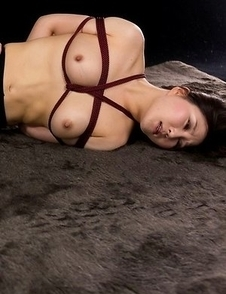 "Bound brunette in pantyhose Yuu Kazuki gets ""banged"" by a very thick dick"